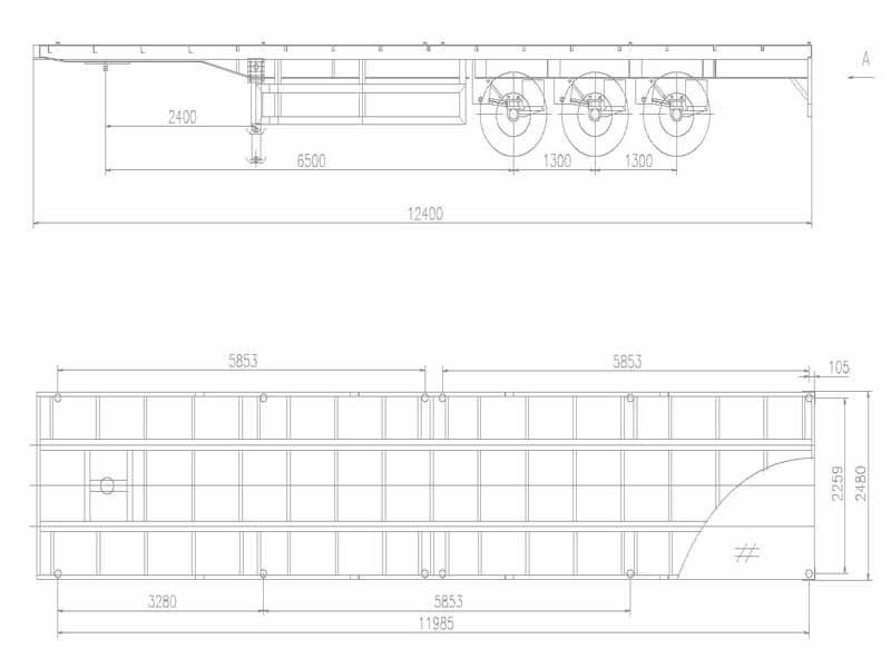 flatbed trailer drawing